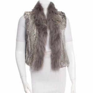 Elizabeth and James Cropped Rabbit Fur Vest